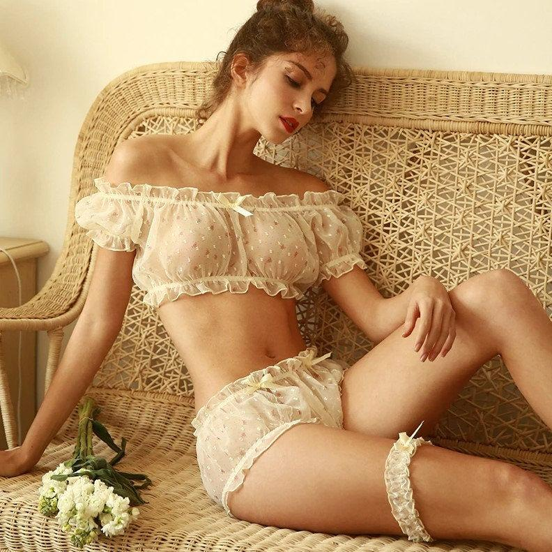 Wedding - Sexy Sheer Lingerie, See Through Erotic Nightgown