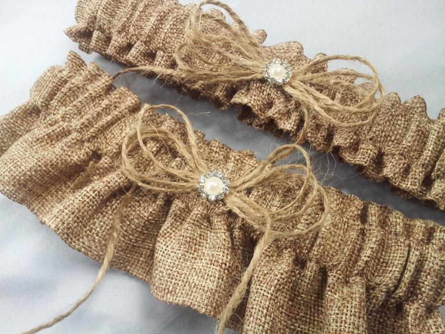 Wedding - Burlap Wedding Bridal Garter Set Pearl Rhinestone Accents
