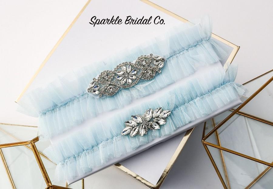 Wedding - Wedding garter Set, Tulle Bridal Garter, Something Blue, Blue Bridal Garter Set,  Garter belt, Garters for Weddings, crystals garter