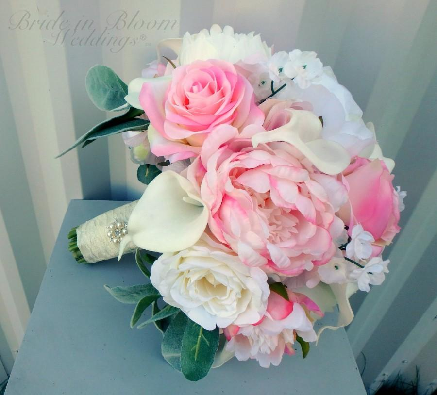 Wedding - Pink peony wedding bouquet - Rose garden wedding flowers