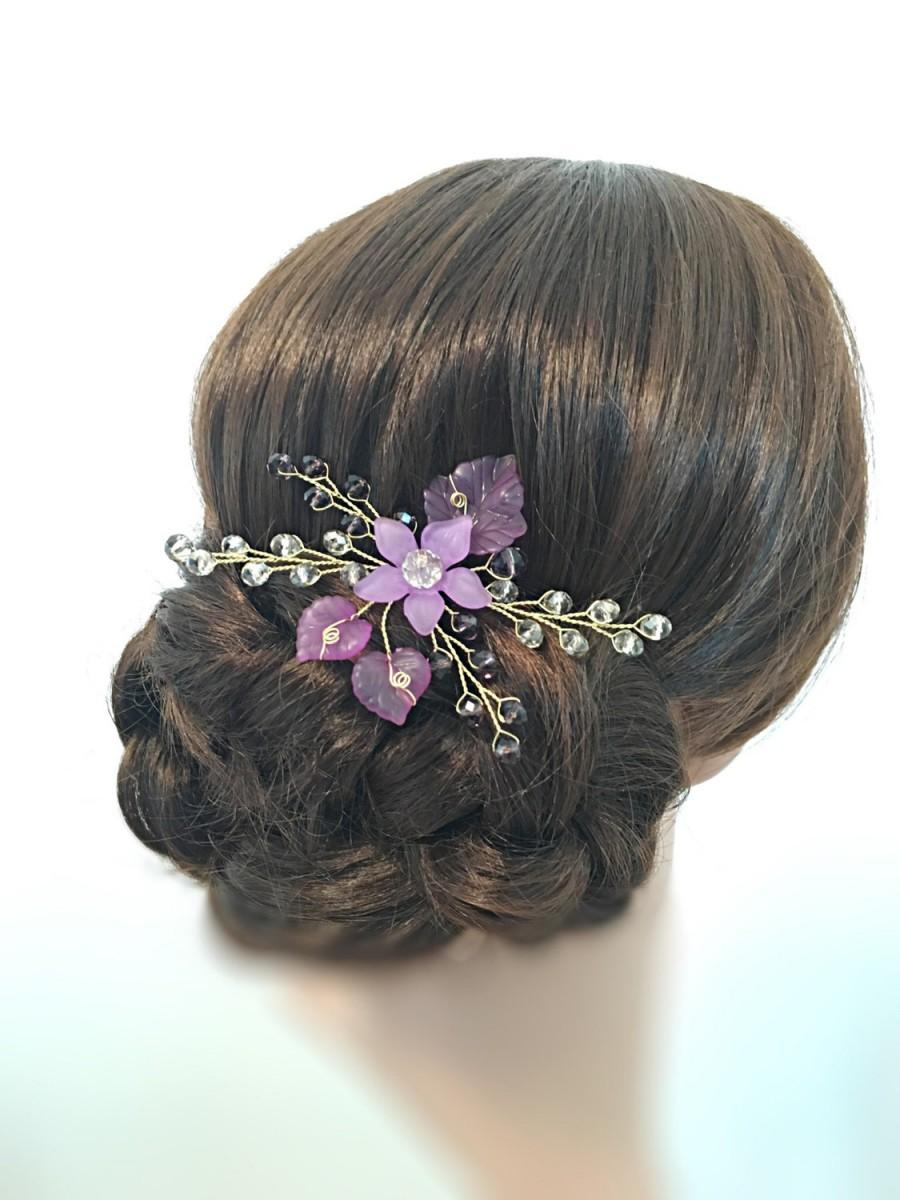 Hochzeit - Purple Hair Pin Bridal, Wedding Hair Piece wedding hair accessories, hair pieces for wedding hair pins floral hair piece flower headpiece