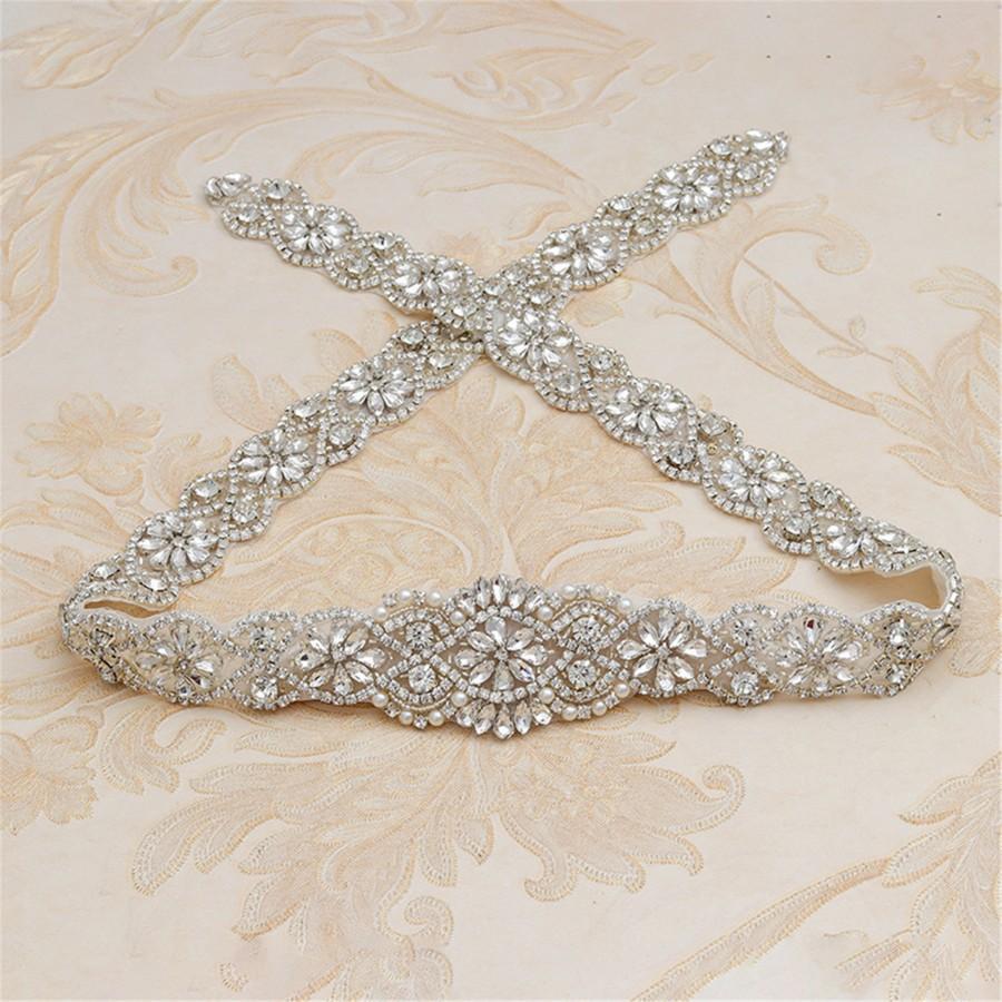 Hochzeit - Rhinestone Wedding Belt Silver Wedding Sash Golden Bridal Belt Rose Gold Wedding Sash Crystal Wedding Sash