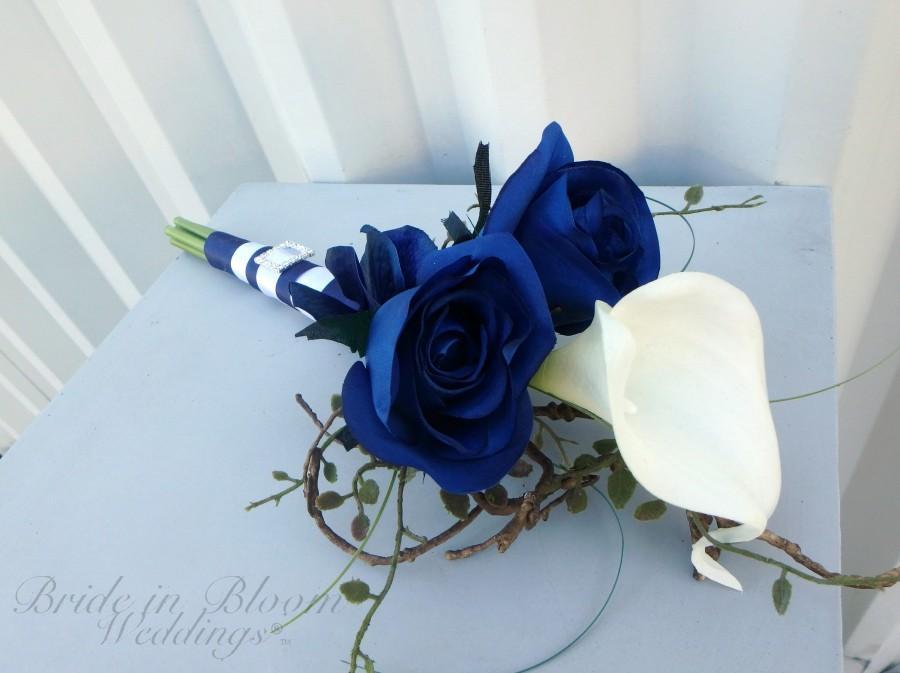 Свадьба - Bridesmaid bouquet, Blue rose White calla lily Silk wedding bouquet