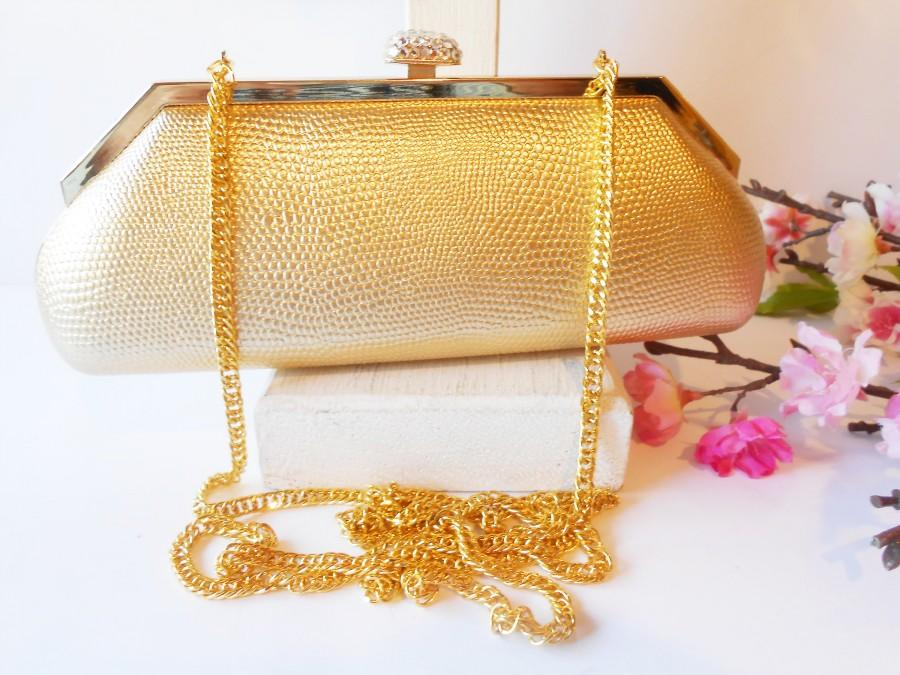 Hochzeit - Glamorous Gold Evening Bag, Glamorous Gold Clutch Bag, Rhinestone Trim EB-0726