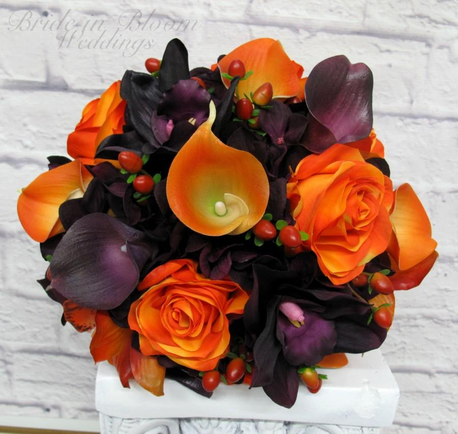 Свадьба - Wedding bouquet, Bride bouquet, Purple and Orange silk wedding flowers