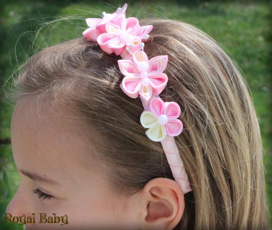 Свадьба - Girl Headband  Hair Accessories  Wedding Flower Girl Headband  Flower Hairband