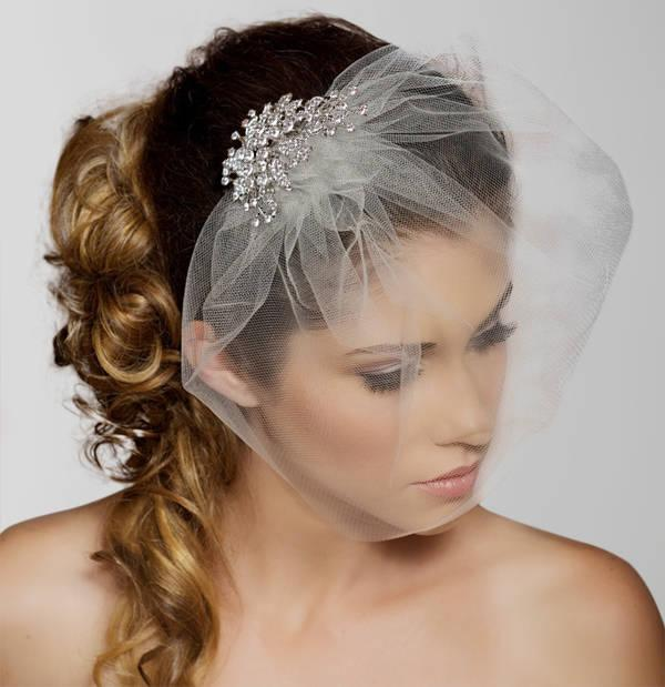 Hochzeit - Birdcage Veil, Crystal comb bird cage Veil, Wedding Veil, Rhinestone Comb, Blusher Veil, Tulle Veil, Bridal Veil, Simple elopement veil