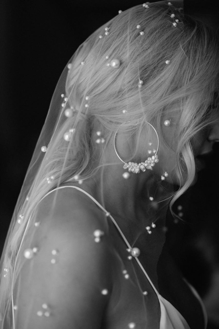Свадьба - Mix Size Pearl veil Pearl Wedding veil Pearls Bridal veil Pearl Bridal accessories Pearl Wedding accessories Cathedral veil