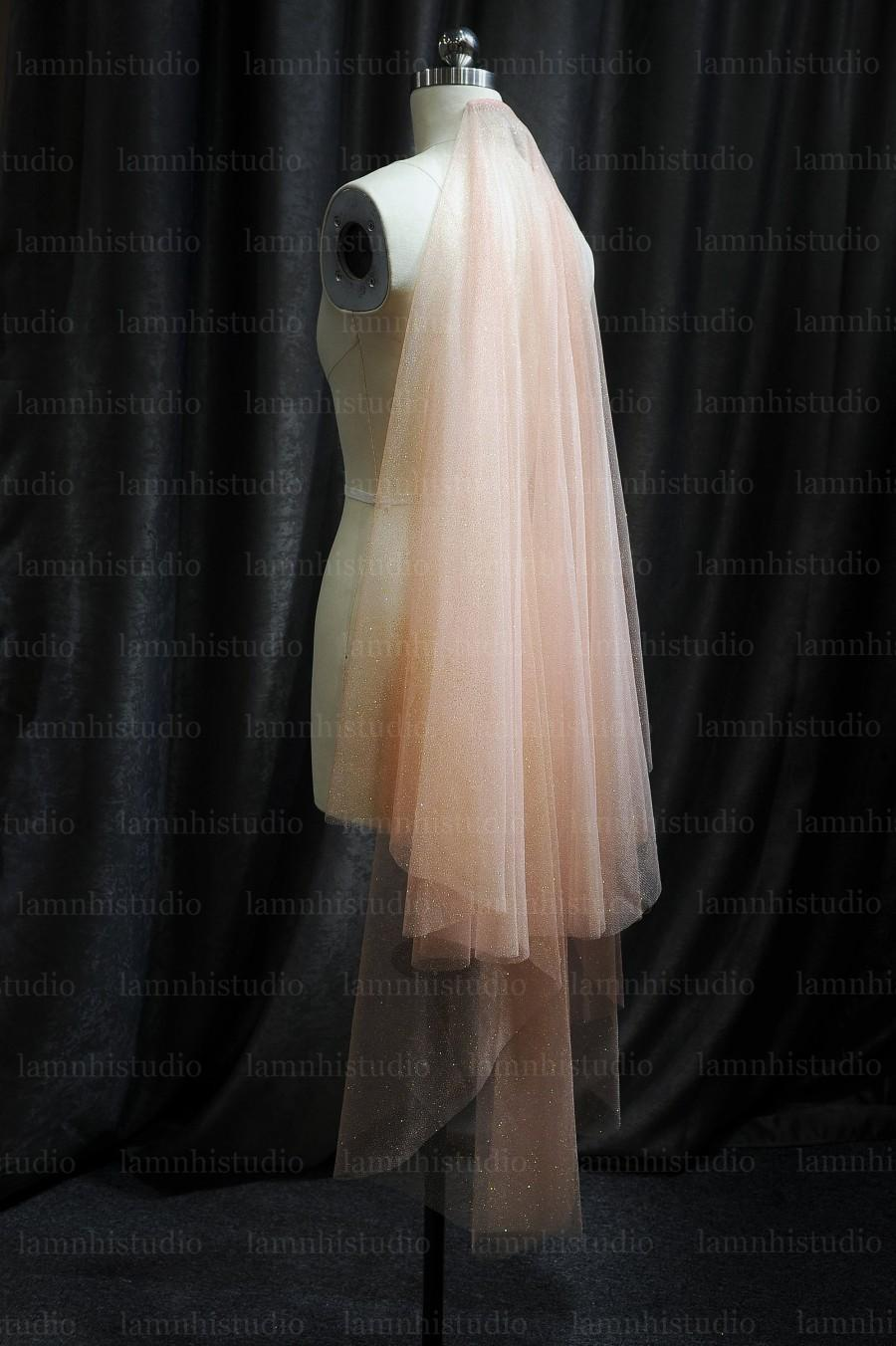 Свадьба - Ls75/blush pink veil/ Veil with blusher / fingertip veil/sparkle veil /drop veil/Cascade Wedding Veil