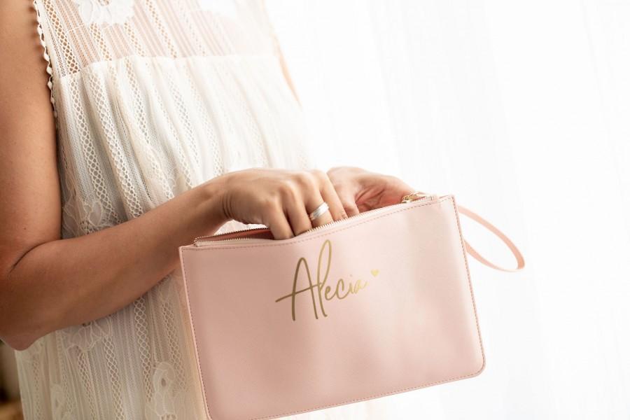 Hochzeit - Personalised clutch bag name clutch bag clutch purse bridesmaid clutch custom clutch evening bag leather look clutch