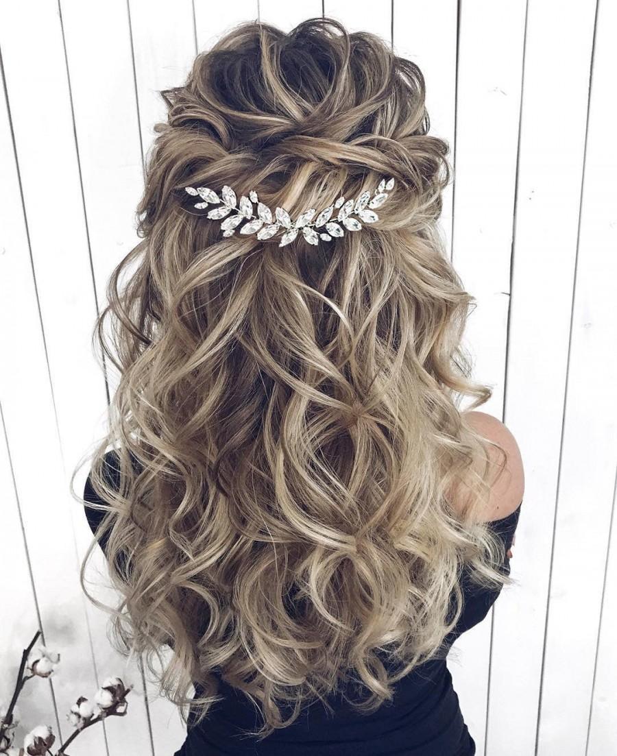 Свадьба - Crystal Bridal Hair piece Crystal Bridal Hair Accessories Leaf Bridal Hair Jewelry Silver Bridal Hair Accessories Crystal Bridal Hair comb