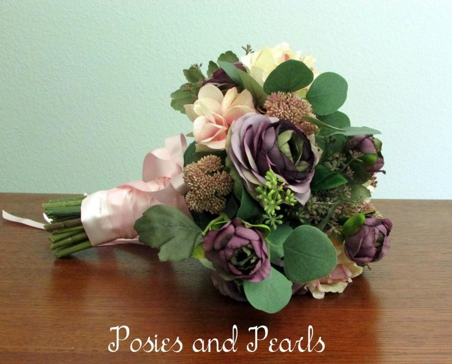 Mariage - Blush Pink, Lavender, and Green Silk Flower Bridal Bouquet and Boutonniere, Roses, Ranunculus, Hydrangea, Seeded Eucalyptus -  Teresa