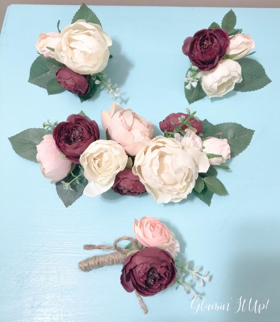 Mariage - Burgundy, Blush and Ivory Cake Flowers, Wedding Cake Flowers, Floral Cake Topper