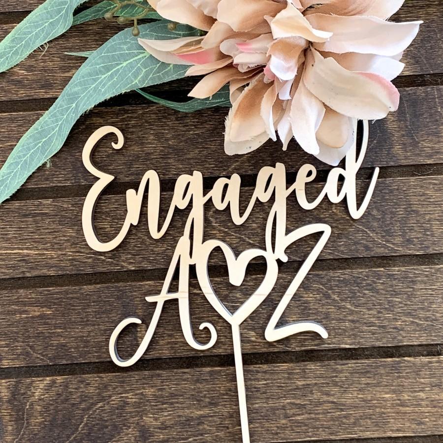 Mariage - Engagement Cake Topper, Initials Cake Topper, Wood Cake Topper, Engaged Cake Topper, Rustic Cake Decor, Engagement Party Decor