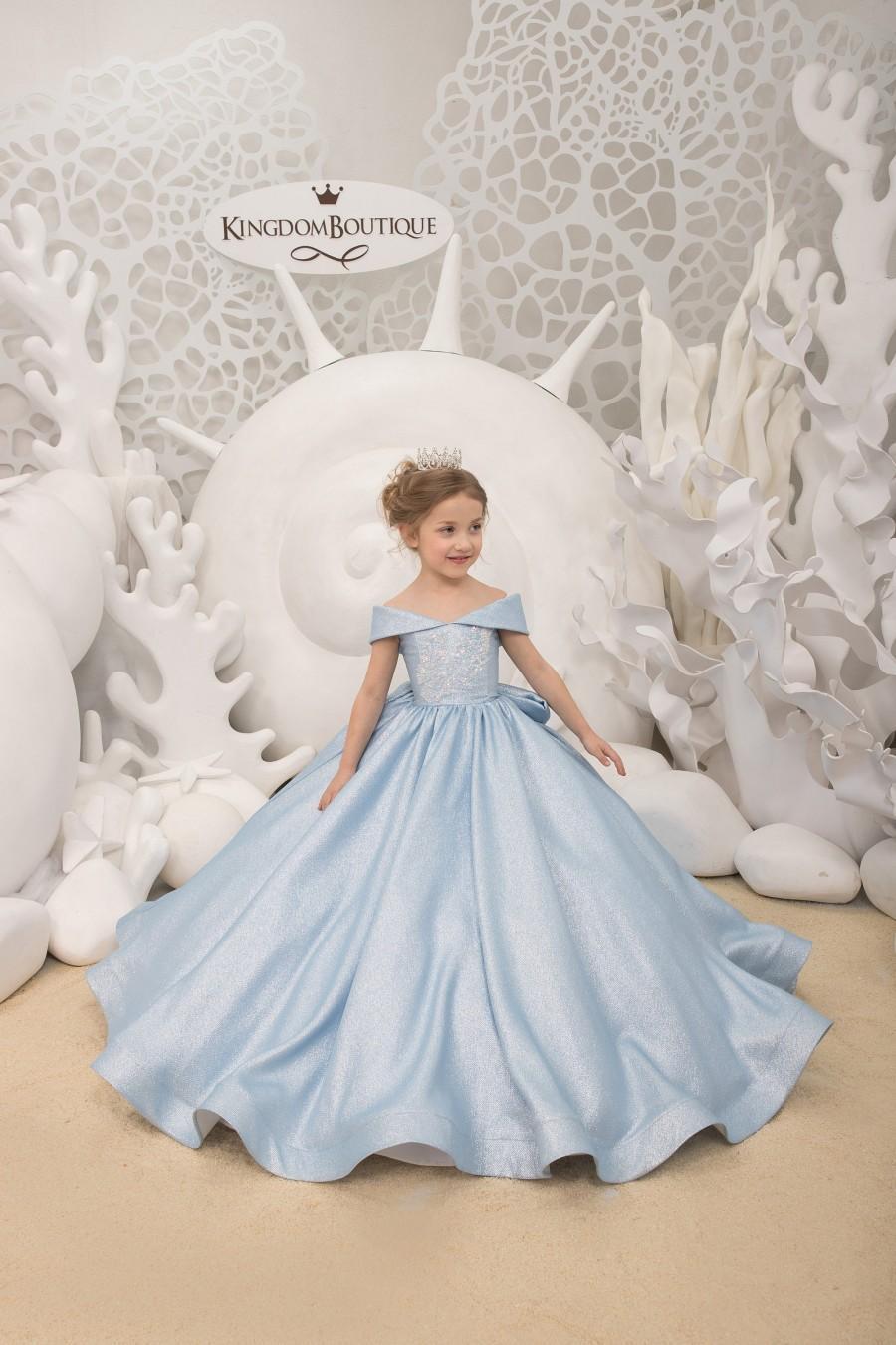 Wedding - Light blue Flower Girl Dress - Birthday Wedding party Bridesmaid Holiday Light blue Flower Girl Dress 21-134