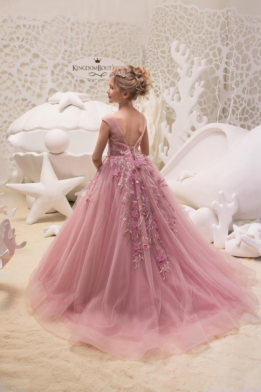 Mariage - Blush Pink Flower Girl Dress - Birthday Wedding Party Holiday Bridesmaid Flower Girl Blush Pink Tulle Lace Dress 21-063