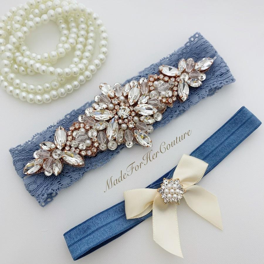 Hochzeit - garters for wedding, wedding garter, rose gold garter, antique blue garter, garter set, bridal garter, wedding garter set, blue garters