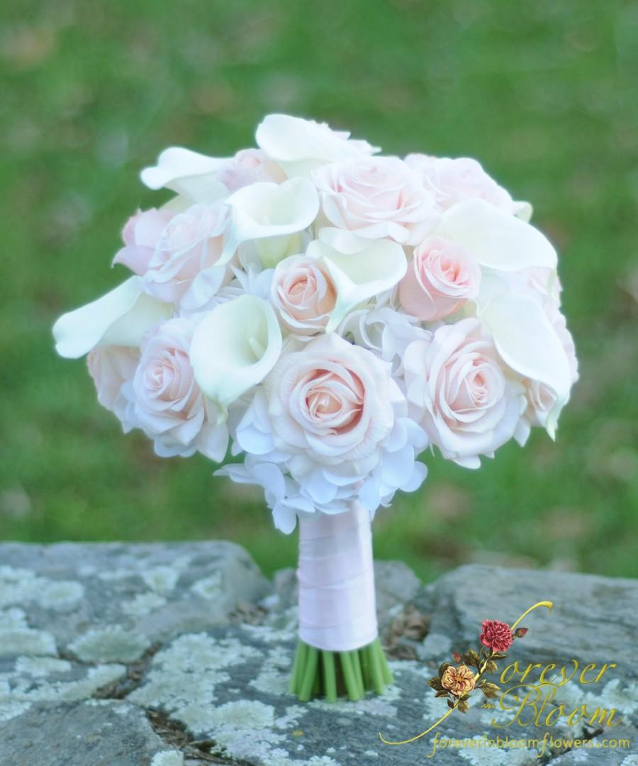 Свадьба - Real Touch Wedding Bouquet / Pink Wedding Bouquet / Large Real Touch Wedding Bouquet / Calla Lily Wedding Bouquet / Pink Rose Bouquet