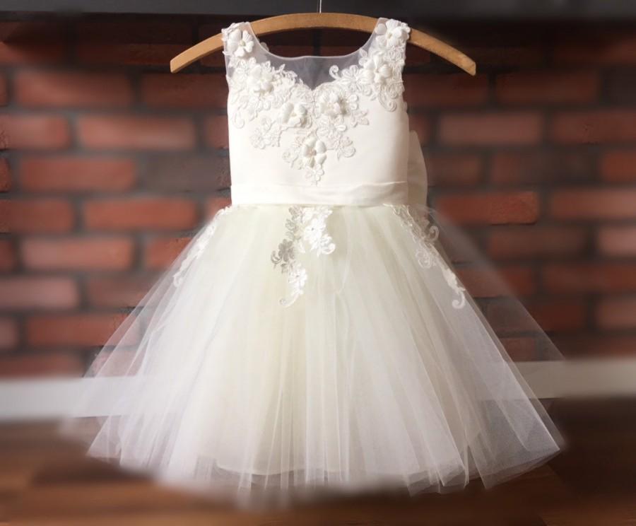 Wedding - ASTORIA Ivory Lace Tulle Flower Girl Dress Wedding Bridesmaid Dress