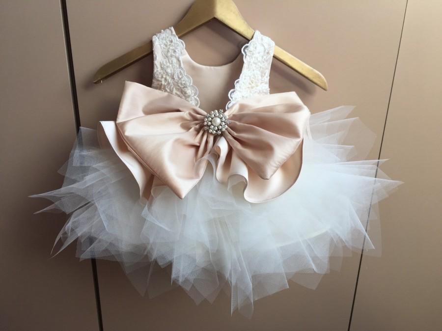 Wedding - LYRIC Champagne Ivory Tulle Ecru Lace Tulle Flower Girl Dress Wedding Bridesmaid Dress BIRTHDAY