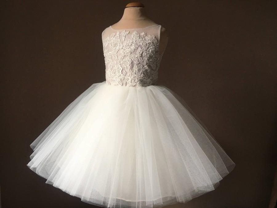 Wedding - DEBBY Ivory Lace Champagne Tulle Flower Girl Dress Vintage Dress Wedding Bridesmaid Dress