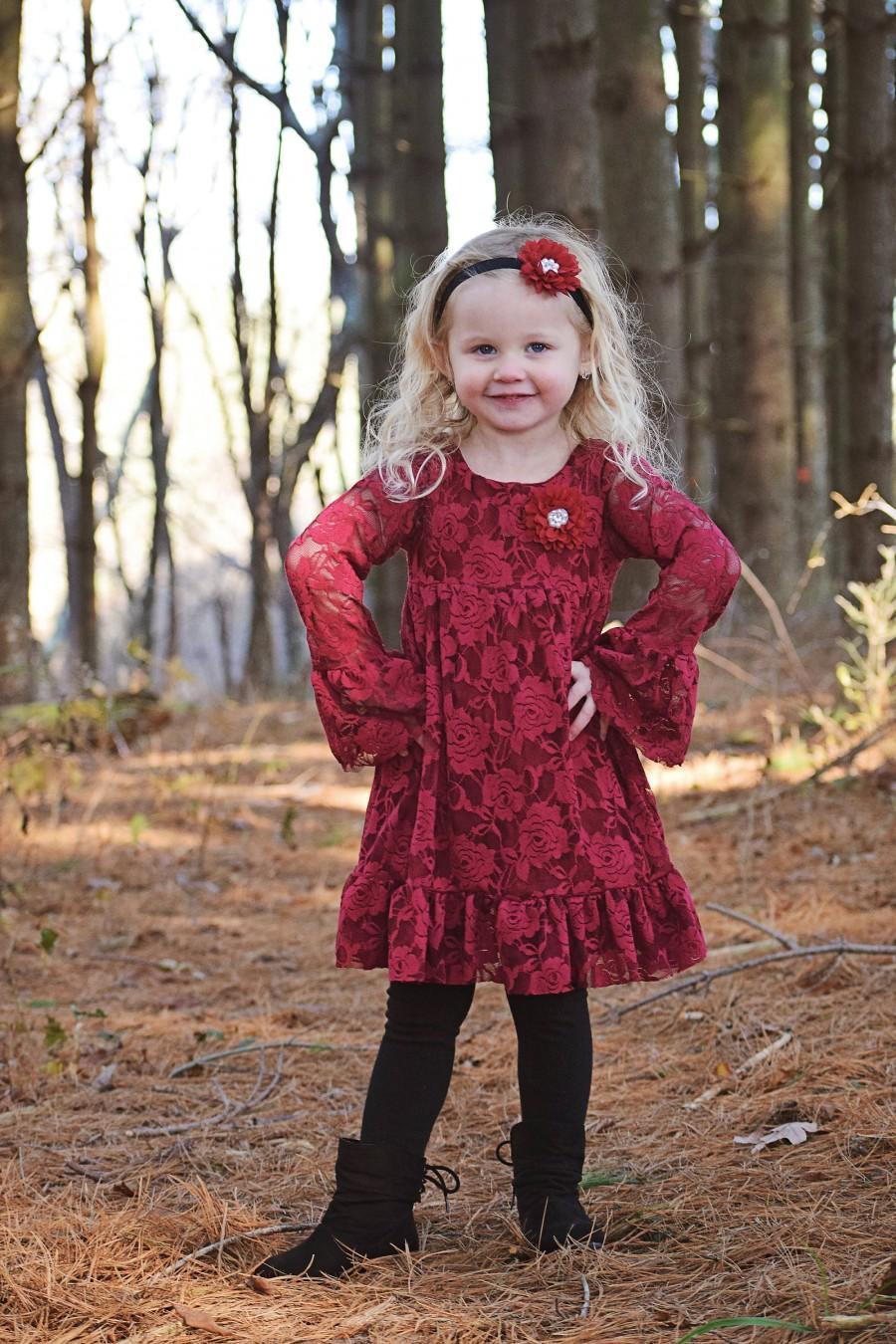Wedding - Burgundy Long sleeve Flower Girl Dresses- Christmas Dress- Maroon Lace dress- Ivory Rustic Girls Dress- Baby Lace Dress- Junior Bridesmaid