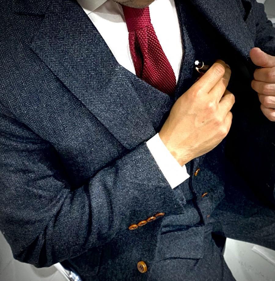 Wedding - Black Herringbone Tweed 3 Piece Suit