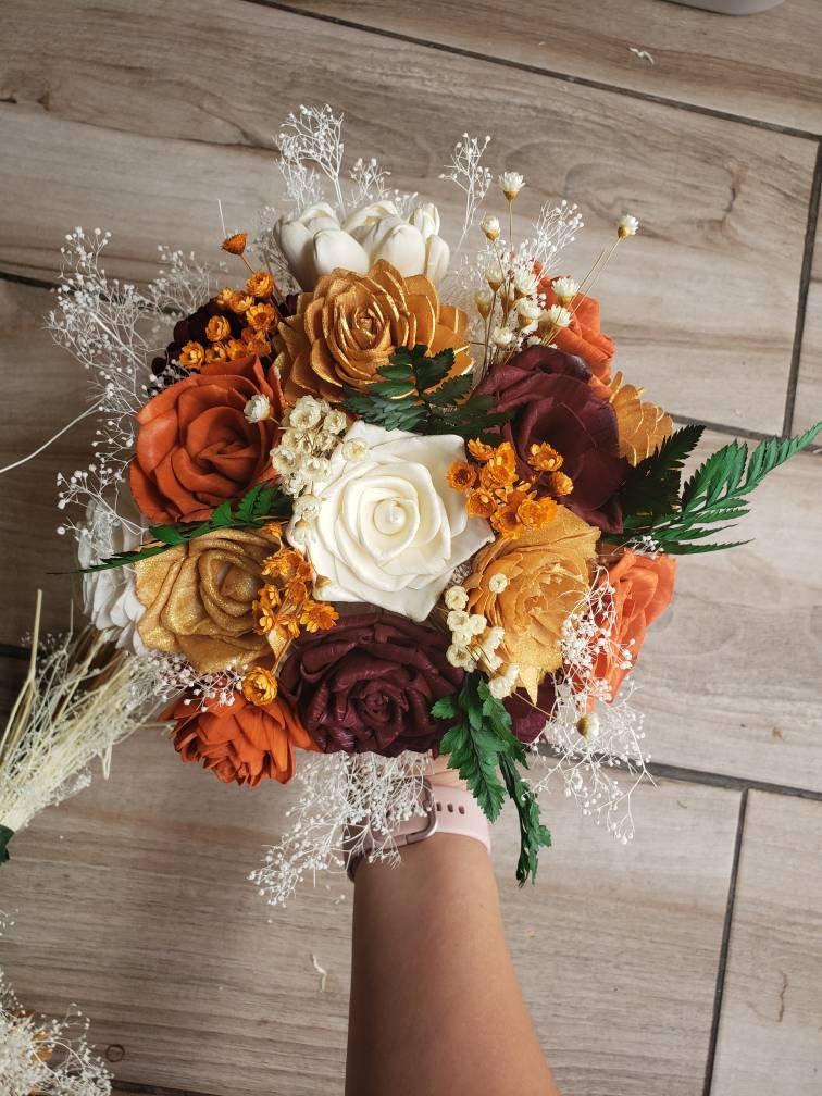 Wedding - Burnt orange burgundy and gold bouquet, sola wood flowers