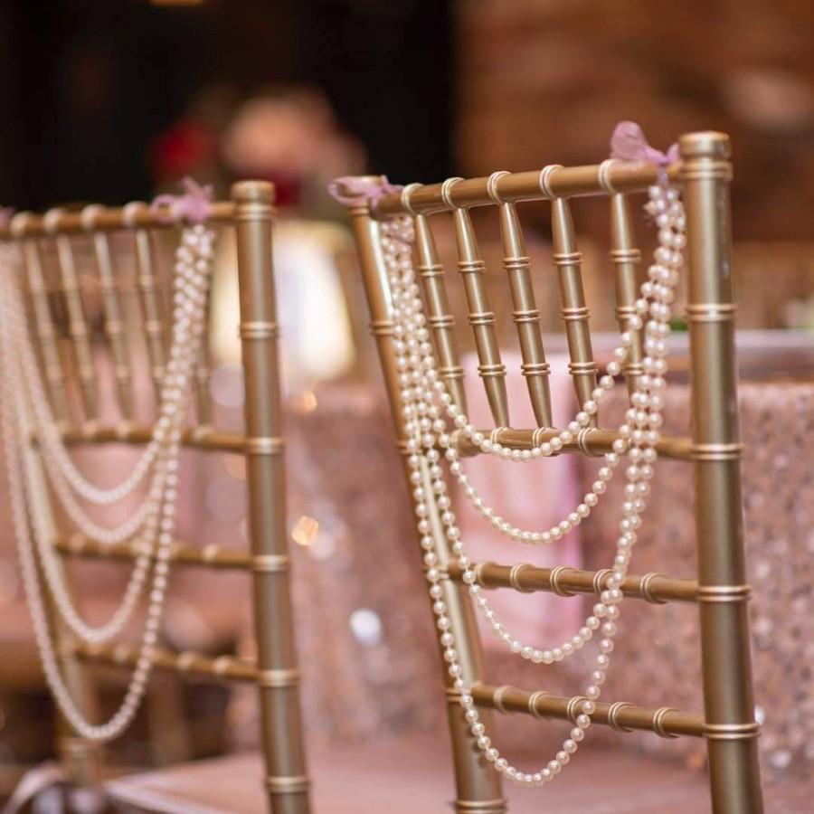 زفاف - 25 - Ivory Pearl Garland Bride Groom Head Chair Reception Chiavari Backing Swag Wedding Day Shower Sweetheart Table Gatsby Chairbacks!