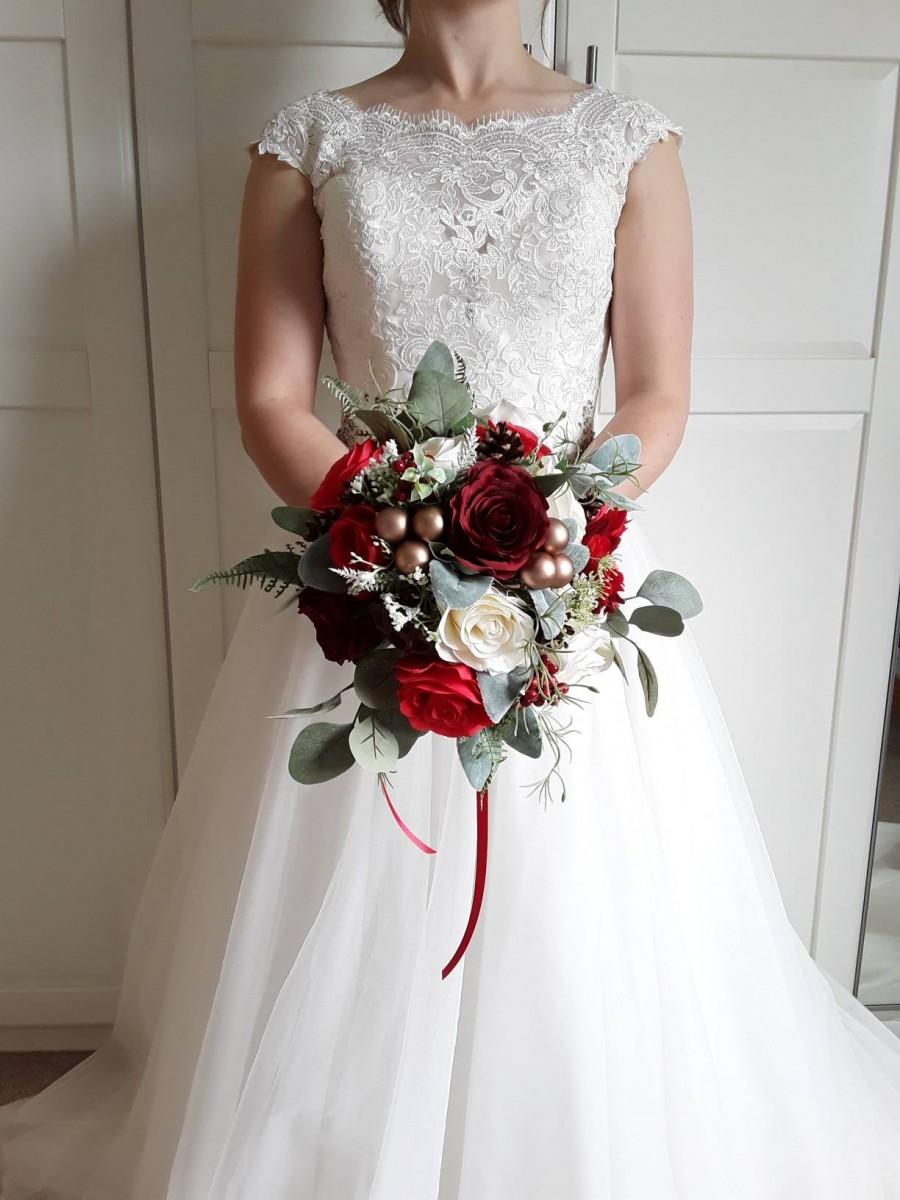 Red Bouquet/ Christmas Wedding Flowers/Red Bridal Bouquet ...