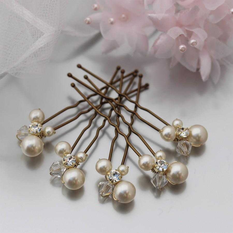 Mariage - Cream Pearl Wedding Hair Pins for Bride or Bridesmaid, Pearl & Crystal Cluster Evening Wear Hair Pins, Cream Pearl Bridal Hair Accessory