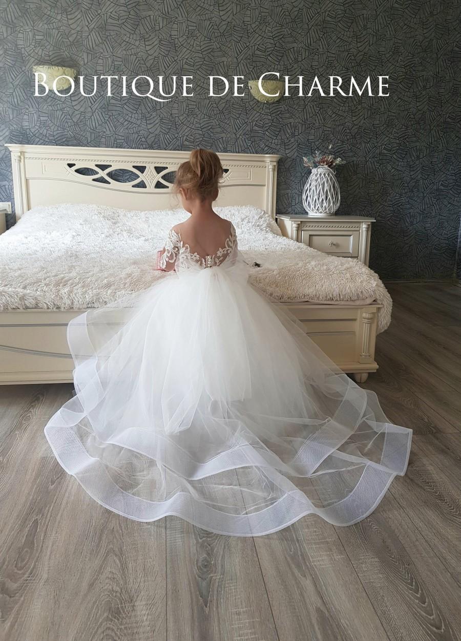 Wedding - Tutu flower girl dress, First communion girl dress, Tulle flower girl dress,Lace flower girl dress, Girl ball gown,Toddler flower girl dress