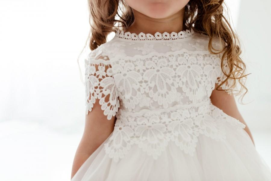 Wedding - Bohemian White Flower Girl Dress, Rustic Tulle Wedding Dress, Will You Be My Flower Girl Proposal, Boho Dresses