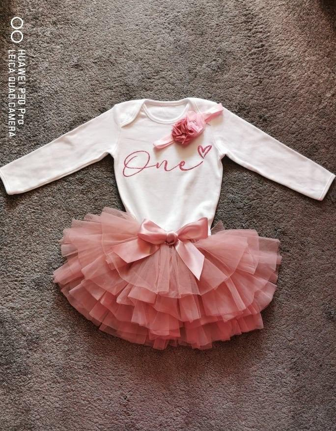 Wedding - Tutu Personalised Cake smash baby girl One Birthday outfit, long sleeved baby, first birthday, dusky pink, 1st birthday,outfit, flower girl
