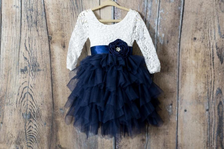 Wedding - Navy Blue Tulle Tulle Flower Girl Dresses, White Lace Flower Girl Dress, Long Sleeve Boho Girls Dresses