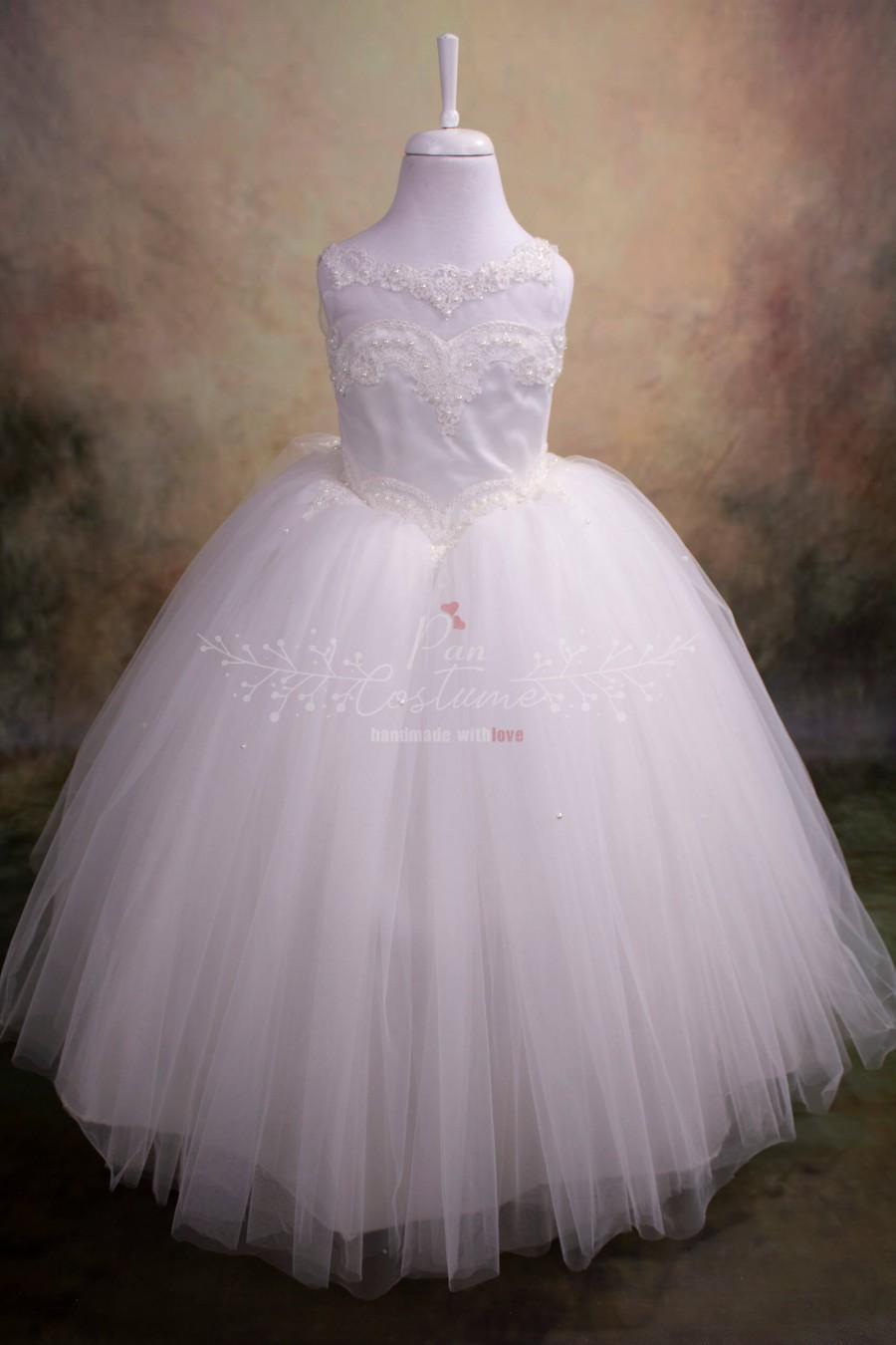 Wedding - White Flower Girl Dress, First Communion Dress, Guipure Neckline Party Gown