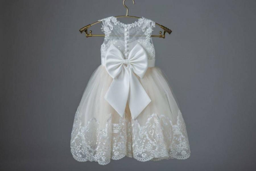 Wedding - Ivory lace applique champagne tulle pretty wedding flower girl dress. W0010M