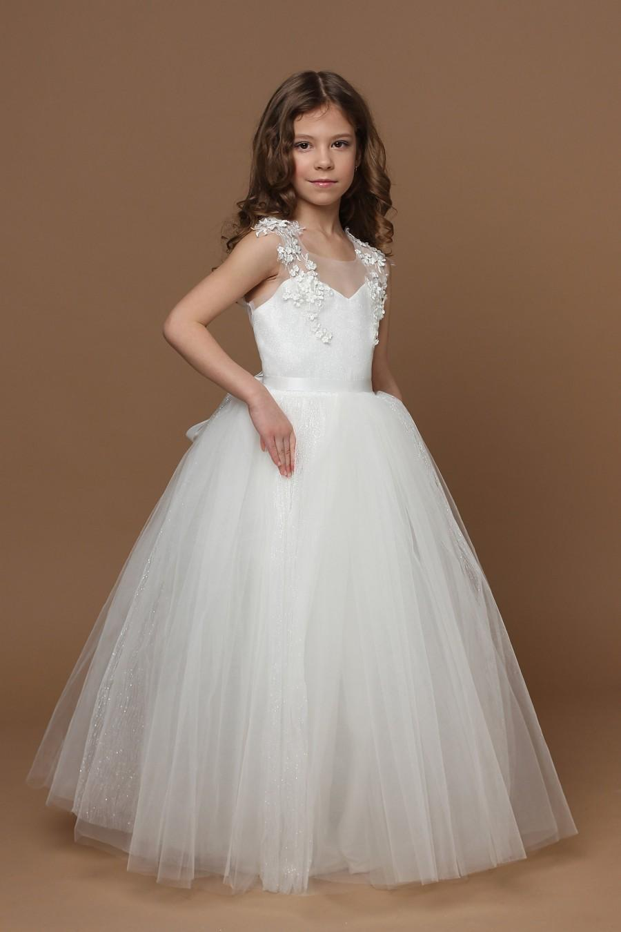 Wedding - Tulle Flower Girl Dress 1st Communion Dress Princess Dress Birthday Girl Dress  Ivory Flower Girl Dress Lace Flower Girl Dress Baby Dress