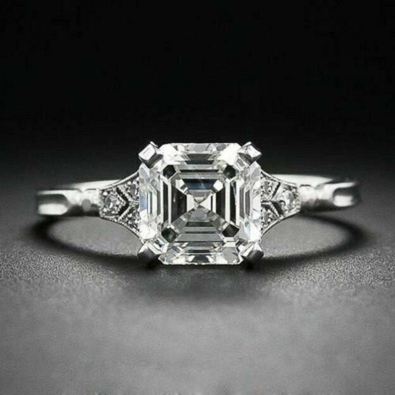 Свадьба - 2.70Ctw Asscher Cut Engagement ring, Asscher Solitaire Ring, Art Deco Promise Ring, Diamond Simulant Asscher Cut Ring, 14K White Gold Plated