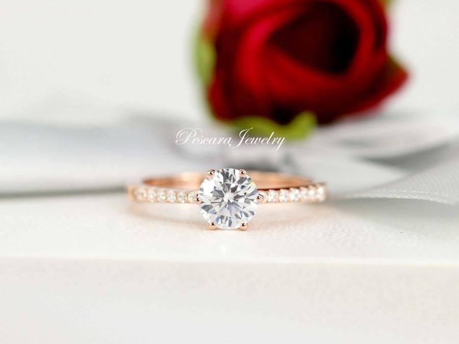 Wedding - 1.0 ctw Rose Gold Engagement Ring, Promise Ring, Wedding Ring, 6 prongs round Cut Solitaire Ring, Small Ring, Sterling Silver