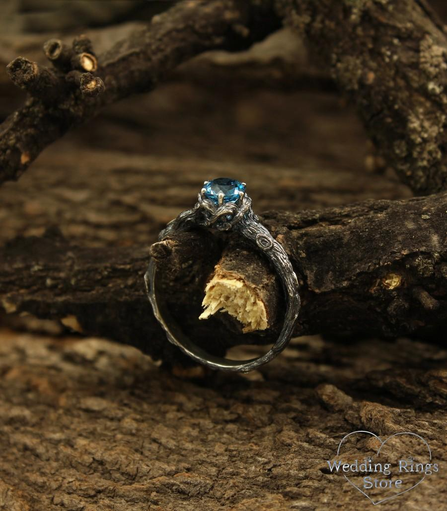 Wedding - Sterling silver branch engagement ring with Topaz, Unique twig ring, Vintage style engagment ring, Nature inspired ring, Gift for her