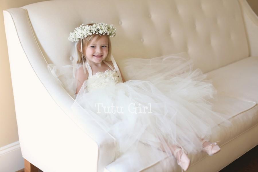Wedding - Ivory Flower Girl Dress, Tutu Dress with Flowers, Ivory Flower Girl Dress - DESIGN YOUR OWN