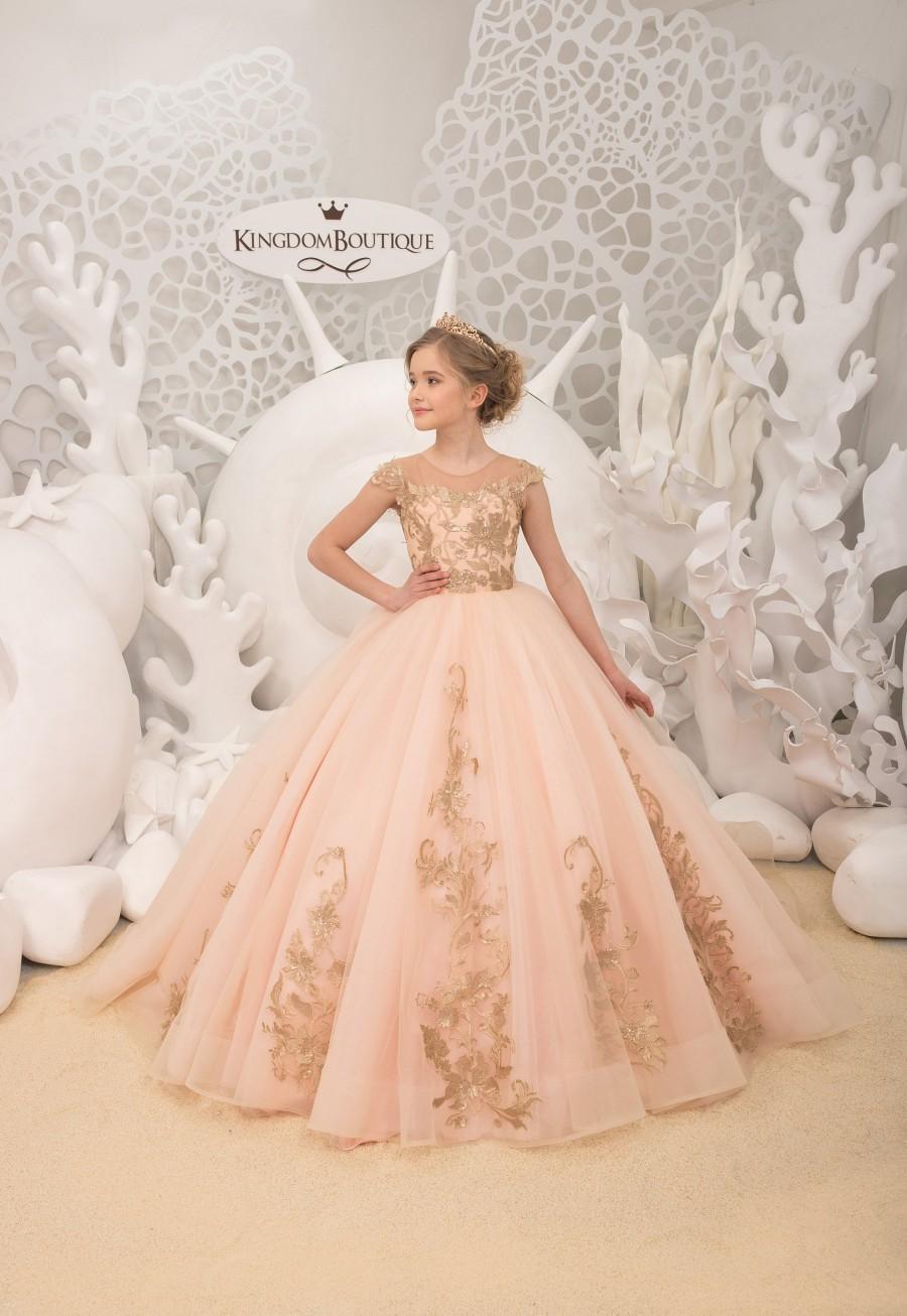Wedding - Blush and Gold Flower Girl Dress - Birthday Wedding party Bridesmaid Holiday Blush and Gold Flower Girl Dress 21-148