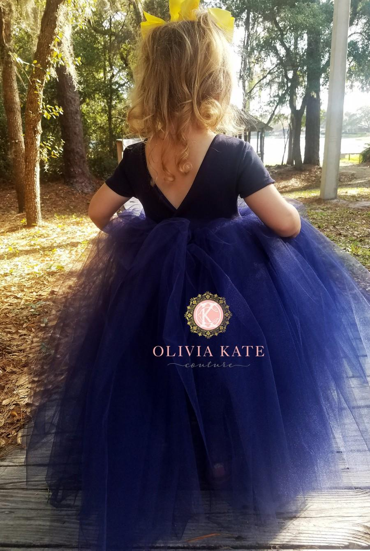 Wedding - Minimalist flower girl dress, navy flower girl dress, tutu dress, girls dress, Navy wedding dress,blessing dress, Cap sleeves, floor length
