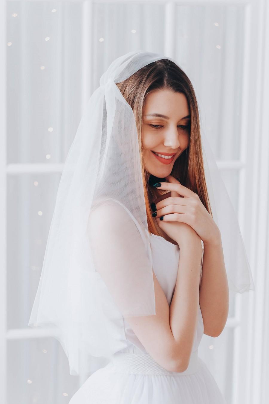 Свадьба - Juliet cap wedding veil, Bridal veil, Ivory veil wedding, Veil with blusher