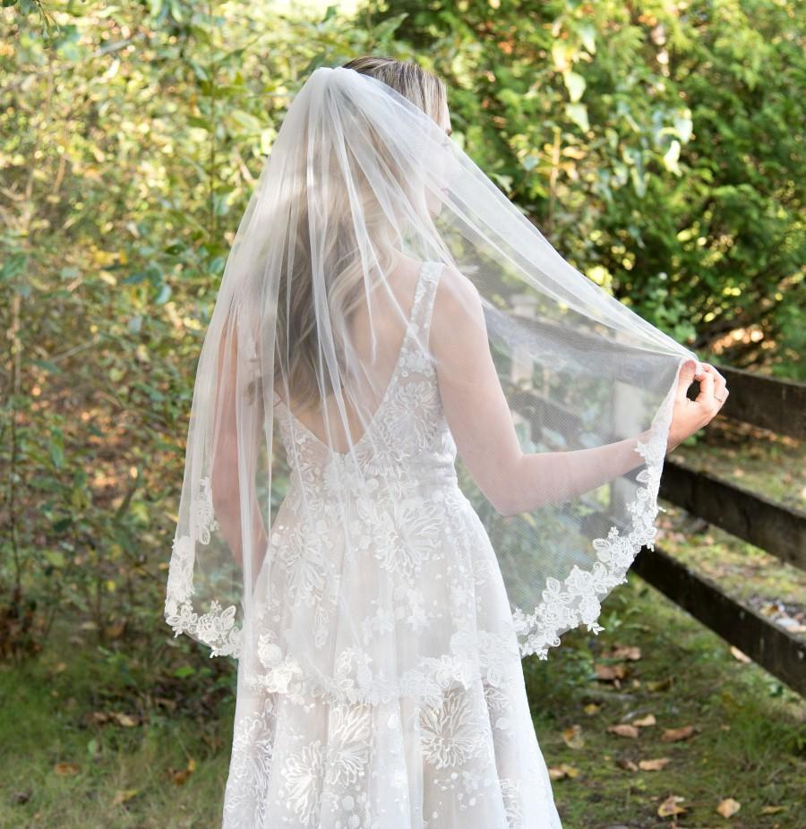 Mariage - Wedding veil, bridal veil, wedding veil ivory, wedding veil lace, lace bridal veil