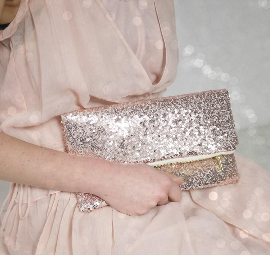 Mariage - Rose Gold sequin purse