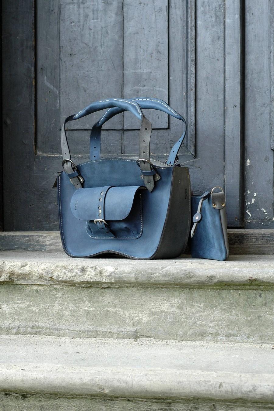 Mariage - Navy Blue handmade leather purse office woman boho tote bag