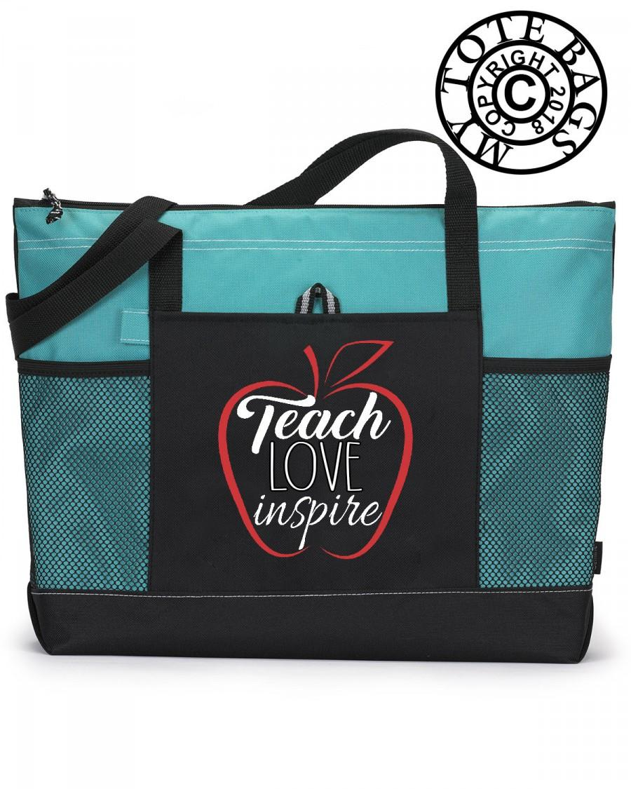 Mariage - Teach Love Inspire  Bag, Teacher Bag, Heavy tote bag, zippered, Heavy canvas, Carryall, School Tote Bag, Teacher Tote Bag,