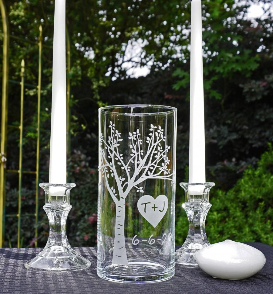 Mariage - Wedding Unity Ceremony Candle Set- Blooming  Sweetheart Tree with Floating Candle. **Taper Candles and Candle Holders Optional**